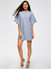 Платье прямого силуэта с воланами на рукавах oodji #SECTION_NAME# (синий), 14000172B/48033/7000M - вид 2