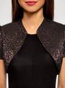 Жакет-болеро из жаккардовой ткани oodji #SECTION_NAME# (коричневый), 22A00003-1/38560/3929J - вид 4