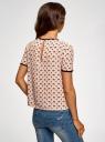 Блузка с коротким рукавом и контрастной отделкой oodji #SECTION_NAME# (бежевый), 11401254/42405/3329A - вид 3