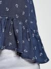 Блузка вискозная с воланами oodji #SECTION_NAME# (синий), 11405136/46436/7912O - вид 5