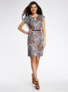 Платье трикотажное с ремнем oodji #SECTION_NAME# (бирюзовый), 24008033-2/16300/7333E - вид 2