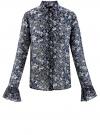 Блузка из комбинированных тканей с модными манжетами oodji #SECTION_NAME# (синий), 11411119/17288/7930F