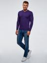 Пуловер базовый с V-образным вырезом oodji #SECTION_NAME# (фиолетовый), 4B212007M-1/34390N/8801M - вид 6