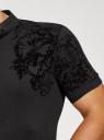 Поло из ткани пике с принтом из флока oodji #SECTION_NAME# (черный), 5L412316M/46547N/2929P - вид 5