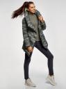Куртка стеганая с объемным воротником oodji #SECTION_NAME# (зеленый), 10200079/32754/6837O - вид 6
