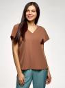 Блузка из струящейся ткани с коротким рукавом oodji для женщины (коричневый), 11405149/48728/3700N