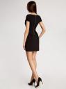 Платье из плотной ткани с V-образным вырезом и молнией на спине oodji для женщины (черный), 11913028/45559/2900N
