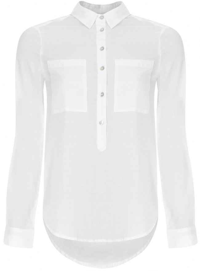 Рубашка хлопковая свободного силуэта oodji для женщины (белый), 11411101B/45561/1000N
