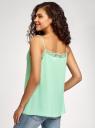Топ в бельевом стиле с кружевной отделкой oodji для женщины (зеленый), 14911004-2B/17358/6500N