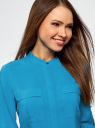 Блузка вискозная с регулировкой длины рукава oodji #SECTION_NAME# (синий), 11403225-3B/26346/7500N - вид 4