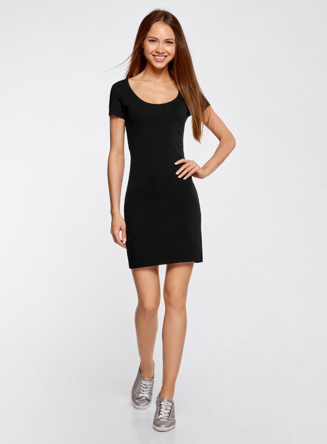 Платье трикотажное облегающего силуэта oodji для женщины (черный), 14001182-2/47420/2910P