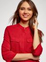 Блузка вискозная с регулировкой длины рукава oodji #SECTION_NAME# (красный), 11403225-9B/48458/4500N - вид 4