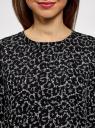 Блузка свободного силуэта с вырезом-капелькой на спине oodji #SECTION_NAME# (черный), 11411129/45192/1229A - вид 4
