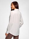 Блузка с нагрудными карманами и регулировкой длины рукава oodji #SECTION_NAME# (белый), 11400355-9B/42807/1200N - вид 3