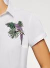 Рубашка хлопковая с вышивкой oodji #SECTION_NAME# (белый), 13K01004-6/14885/1019P - вид 5