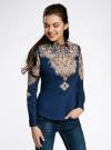 Блузка хлопковая с этническим принтом oodji #SECTION_NAME# (синий), 21402212-2/45966/7533E - вид 2