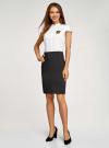 Платье комбинированное с вышивкой oodji #SECTION_NAME# (белый), 12C12001-1/42250/1029B - вид 6