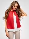 Блузка двуцветная многослойная oodji #SECTION_NAME# (красный), 14901418/26546/124DB - вид 2