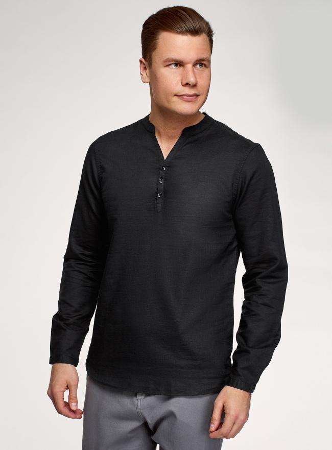 Рубашка прямого силуэта изо льна oodji для мужчины (черный), 3B320002M-1/49987N/2900N