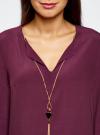 Блузка прямого силуэта с украшением oodji #SECTION_NAME# (фиолетовый), 21404021/43281/8800N - вид 4