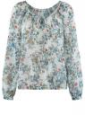 Блузка принтованная с завязками oodji #SECTION_NAME# (слоновая кость), 21418013-2M/17358/1275E