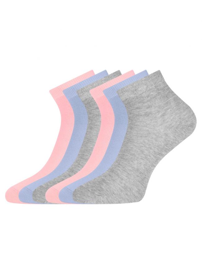Комплект укороченных носков (6 пар) oodji для женщины (разноцветный), 57102418T6/47469/67