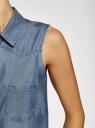 Топ из лиоцелла с нагрудными карманами oodji #SECTION_NAME# (синий), 19009007/42579/7500W - вид 5