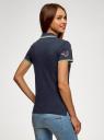 Поло из ткани пике с вышивкой oodji для женщины (синий), 19301001-12/46161/7919O
