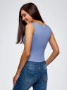 Топ из эластичной ткани на широких бретелях oodji для женщины (синий), 24315002-1B/45297/7500N