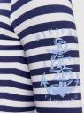 Футболка хлопковая с длинным рукавом oodji для женщины (синий), 24201007/35582/1079S
