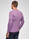 Пуловер базовый с V-образным вырезом oodji #SECTION_NAME# (фиолетовый), 4B212007M-1/34390N/8001M - вид 3