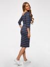Платье облегающее с вырезом-лодочкой oodji #SECTION_NAME# (синий), 14017001-2B/37809/7912S - вид 3