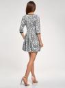 Платье трикотажное со складками на юбке oodji #SECTION_NAME# (белый), 14001148-1/33735/1229E - вид 3