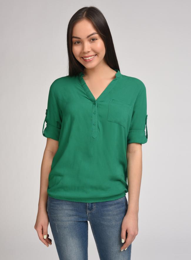 Блузка вискозная с рукавом-трансформером 3/4 oodji #SECTION_NAME# (зеленый), 11403189-2B/26346/6E00N