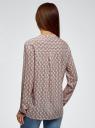 Блузка принтованная из вискозы oodji #SECTION_NAME# (розовый), 11411049-1/24681/4020K - вид 3