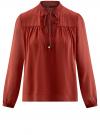 Блузка из шифона свободного силуэта с завязками oodji #SECTION_NAME# (красный), 21400402/17358/3100N
