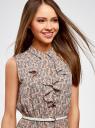 Платье из струящейся ткани с жабо oodji #SECTION_NAME# (розовый), 21913018/36215/5412E - вид 4