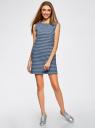 Платье из ткани пике oodji #SECTION_NAME# (синий), 14005074-1B/46149/7079S - вид 2
