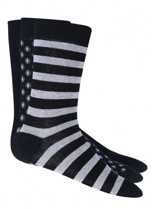 Носки высокие (комплект из 3 пар) oodji #SECTION_NAME# (черный), 7O230040M/16859N/2923G