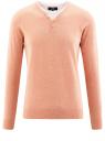 Пуловер с хлопковой вставкой на груди oodji #SECTION_NAME# (розовый), 4B212006M/39245N/5410B