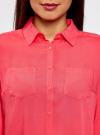 Блузка с нагрудными карманами и регулировкой длины рукава oodji #SECTION_NAME# (розовый), 11400355-3B/14897/4D00N - вид 4