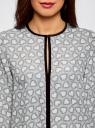 Блузка из струящейся ткани с контрастной отделкой oodji #SECTION_NAME# (серый), 11411059B/43414/1229O - вид 4