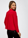 Блузка из шифона свободного силуэта с завязками oodji #SECTION_NAME# (красный), 21400402/17358/4500N - вид 3