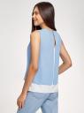 Блузка двуцветная многослойная oodji #SECTION_NAME# (белый), 14901418/46123/1202B - вид 3