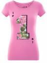 Футболка хлопковая с принтом oodji для женщины (розовый), 14701005/35918/4170P