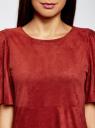 Платье из искусственной замши свободного силуэта oodji #SECTION_NAME# (красный), 18L11001/45622/3100N - вид 4
