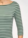 Футболка в полоску с рукавом 3/4 oodji для женщины (зеленый), 24211001-4B/45297/6C12S