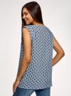 Блузка вискозная с нагрудными карманами oodji #SECTION_NAME# (синий), 21412132-6B/48756/7075F - вид 3