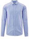 Рубашка хлопковая в мелкую графику oodji #SECTION_NAME# (синий), 3L110309M/44425N/1074G