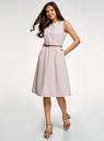 Платье с поясом без рукавов oodji для женщины (бежевый), 12C13008-2/42583/3710S